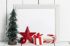 Picture Frame And Christmas Decor Royalty Free Stock Photography