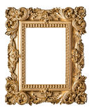Picture frame baroque style. Vintage art gold object. Isolated on white background Royalty Free Stock Photos
