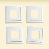 Picture frame beige background. Four modern clean picture frames with beige background Royalty Free Stock Images