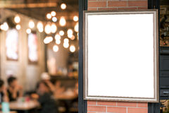 picture frame billboards in restaurant stock image