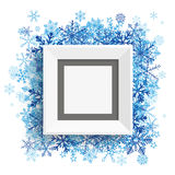 Picture Frame Blue Snowflakes. Picture frame with blue snowflakes on the white royalty free illustration