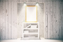 Picture frame and bookshelf in light wooden interior Royalty Free Stock Photography