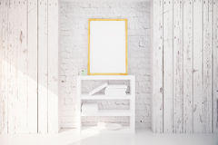 Picture frame and bookshelf in white wooden interior Royalty Free Stock Photos