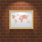 Picture frame on brick wall background. Picture frame on brick wall texture and background Royalty Free Stock Photo