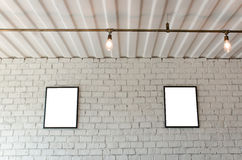Picture frame on brick wall royalty free stock photography