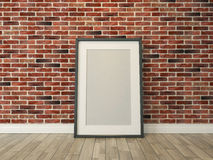 Picture frame on the brick wall and wood floor rendering Royalty Free Stock Photography