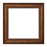 Picture frame with brown texture and golden ornament Royalty Free Stock Image