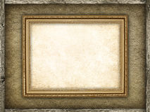 Picture frame on canvas and wood background Stock Photos