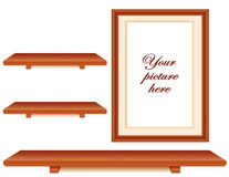 Picture Frame, Cherry Wood Shelves Wall Group Stock Image