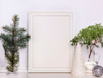 Picture frame Christmas mockup, stock photography. Royalty Free Stock Photos