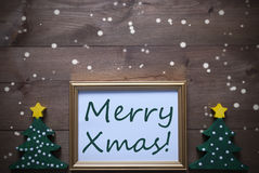 Picture Frame With Christmas Tree And Text Merry Xmas, Snowflake Royalty Free Stock Photography