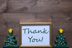 Picture Frame With Christmas Tree And Text Thank You Royalty Free Stock Image