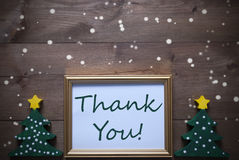 Picture Frame With Christmas Tree And Text Thank You, Snowflake Stock Photo