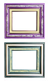 Picture frame collage. Elegant violet and blue picture frames classic style stock photo