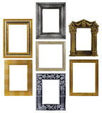 Picture Frame Collage. Wooden frames isolated on white background stock images