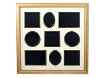 Picture frame for collection of 9 small pictures Royalty Free Stock Image