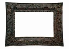 Picture frame, dark. A dark stained picture frame with embellishment royalty free stock photo
