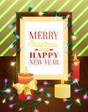 Picture frame decorated with christmas lights. Christmas greeting card. Royalty Free Stock Image