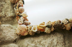 Picture frame decorated with shells Royalty Free Stock Images