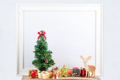Picture frame with decorations. Mock up for your photo or text Place your work, Christmas style, white background,accessories royalty free stock images
