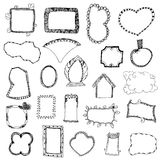 Picture frame drawing designs vector set on white isolated Stock Photos