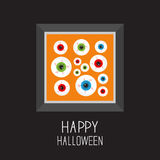 Picture frame Eyeballs with bloody streaks. Happy Halloween card. Balck background Flat design. Picture frame Eyeballs with bloody streaks. Happy Halloween card Stock Photography