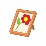 Picture frame with flower icon, cartoon style Stock Photography