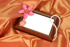 Picture frame with a flower and pearls Stock Photography