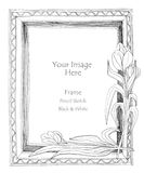 Picture frame flower pencil sketch Royalty Free Stock Image