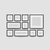 Picture frame gallery set for photographs. Picture frame set for photographs. Vector realisitc paper or plastic white picture-framing mat with black borders vector illustration