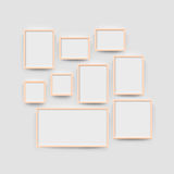 Picture frame gallery set for photographs. Picture frame set for photographs. Vector realisitc paper or plastic white picture-framing mat with red borders vector illustration