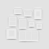 Picture frame gallery set for photographs. Picture frame set for photographs. Vector realisitc paper or plastic white picture-framing mat with white borders royalty free illustration