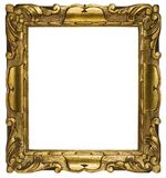 Picture Frame Gold Cubic (Path Included). Cubic, gold plated empty picture frame for putting your pictures in. Clipping path included royalty free stock photos