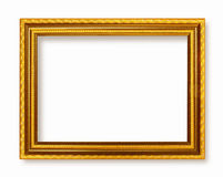 Picture frame gold dark tones wood frame. In white background Royalty Free Stock Photography