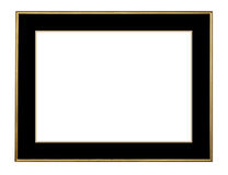 Picture frame in gold, isolated. Picture frame in gold leaf with beveled center, isolated with  clipping path Stock Images