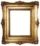 Picture Frame Gold (Path Included). Aged, gold plated empty picture frame for putting your pictures in. Clipping path included stock photos