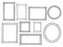 Picture frame graphic black white isolated sketch set illustration vector. Picture frame graphic black white isolated sketch set illustration Royalty Free Stock Images