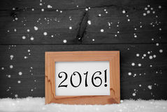 Picture Frame With Gray Background, 2016, Snow, Snowflakes Royalty Free Stock Photo