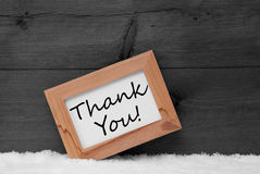 Picture Frame With Gray Background, Thank You, Snow Stock Photo
