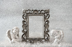 Picture frame with guardian angel. Christmas decoration Royalty Free Stock Photo