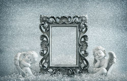 Picture frame with guardian angel. Vintage style decoration Stock Image