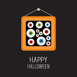 Picture frame hanging on the wall Eyeballs with bloody streaks. Happy Halloween card. Balck background Flat design. Stock Image