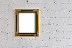 Picture frame Hanging on White block wall Royalty Free Stock Image