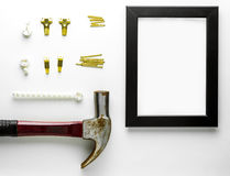 Picture frame Hook nail installation equipment. Stock Photo