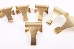 Picture frame hooks. Brass Molding picture frame hooks Royalty Free Stock Photos