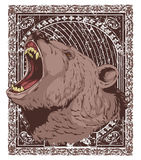 Hungry grizzly. Picture frame of hungry and angry grizzly royalty free illustration
