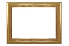 Picture frame isolated on white background, empty antique golden Royalty Free Stock Photography