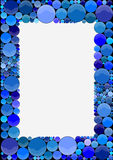 Picture frame made of blue circles. An illustration of a blank picture frame made of blue circles stock photography
