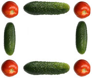 Picture frame made out of different vegetables. Isolated on white Royalty Free Stock Photos