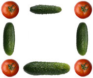 Picture frame made out of different vegetables. Isolated on white Stock Photography